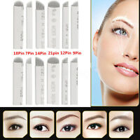 20/50X Microblading Eyebrow Blades Shading Needles Tattoo Curved Manual Makeup