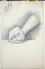 DESSIN , ETUDE DE MAIN daté et signé LEGUEN DE KERNEIZON, 1889.
