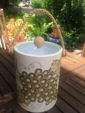 """Vintage Kraftware Ice Bucket  Grapes design, Rope Handle 5th Ave NYC 10"""" x 8"""""""