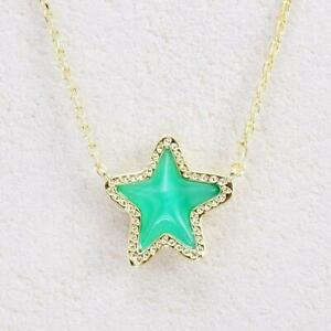 NWT Kendra Scott Jae Star Cat's Eye Emerald Green Necklace Gold