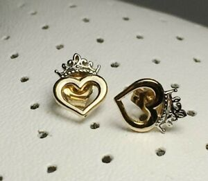 Authentic Disney Princess 10K Yellow And White Gold Crown Stud Earrings