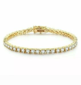 "7.50Ct Diamond Tennis Bracelet 8"" One Row Round Diamonds 14K Yellow Gold Finish"