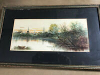 """Antique F Diehl """"River And Landscape Scene"""" Watercolor Painting - Framed"""