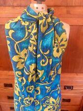 New listing 60's Vtg Hawaiian Aloha Full Length Dress Barkcloth McInery Blue/Gold