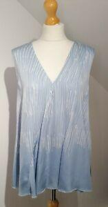 Whistles Uk 12 Light Blue & White Abstract Stripe A-line Top Blouse Sleeveless