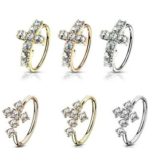 1pc Bendable Nose Hoop / Cartilage Ring CZ Gem Paved Cross for Rook, Daith