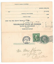 Preprinted Paid Reply Postal Card UY7 Ohio Bureau of Statistics Birth Record