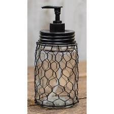 Country Farmhouse Mason Glass Soap Dispenser With Chicken Wire