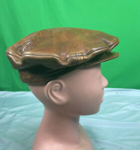 Vintage Brown Leather Hat Newsboy Cabbie Golf Cap Mens Small Motorcycle Ivy Flat