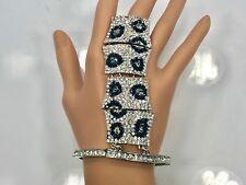 Crystal Pave Stretch Bracelet Finger Ring - Leopard