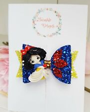 """Handcrafted Princess Snow White Inspired Clay Glitter Fabric Hair Bow Clip 3.5"""""""