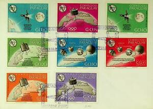 PARAGUAY 1965 SPACE SATELLITE UIT TOKYO JAPAN OLYMPIC GAMES 8v ON FDC