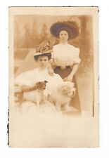 Vintage RPPC Victorian Women Pet Dogs 1911 Real Photo Postcard