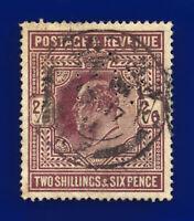 1911 SG316 2s6d Dull Reddish Purple M50(2) London NO 17 11 Fair Used c.£180 dbml