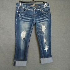 Almost Famous Cuffed Capri Women's Jeans Size 3 Distressed/ Destroyed Stretch