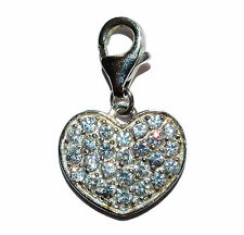 Stamped 925 Sterling Silver & Cubic Zirconia Heart Charm With Carabina