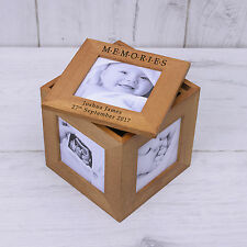 Personalised Oak Photo Cube Memories Picture Storage Box Baby Christening Gift