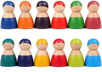 12 PCS WoodenToddler Toys for Boys Girls Learning Rainbow Wood Peg Dolls Wooden