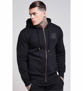 Mens Sik Silk Zip Through Hoodie Sweater Top - Black *£65 RRP* SikSilk XS