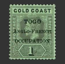 More details for other commonwealth stamps 1916-20 1s emerald-green togo overprint sgh53c mint mh