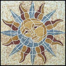 "40""x 40"" Handmade Sun Geometrical Marble Mosaic Inlay Art Stone Tile Decor"