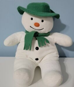 "Eden 14"" Snowman Plush Stuffed Toy Green Felt Hat Scarf Raymond Briggs"