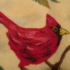 Beige tan Chritmas cotton fabric BTHY Cardinal birds