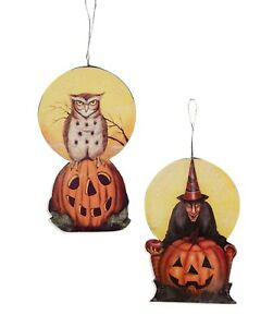 Bethany Lowe Set Of 2 Moonlight Halloween Ornaments BB9357 Witch and Owl