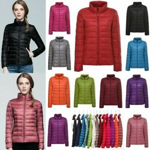 UK Womens Ladies Quilted Padded Puffer Bubble Warm Ultralight Down Jacket Coat