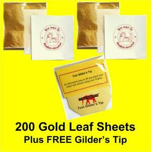 200 Sheets of Gold Leaf 24CT Colour 100% Genuine Composition Sheets Art Craft