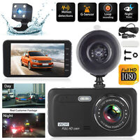 "4"" 1080P Car DVR Dash Cam Recorder Dual Lens Front & Rear Camera G-Sensor 170°"