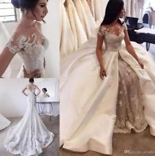Luxury Lace Mermaid Wedding Dresses With Detachable Train Sheath Bridal Gown Hot