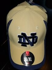 #1244 L/XL Notre Dame Fighting Irish Under Armour Hat-Gold W/Blue Accents NWT