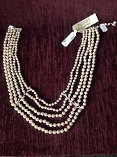 B0871 Monet 5 Row Simulated Pearl Necklace