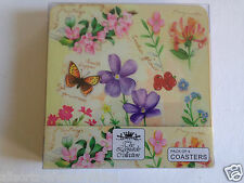 Set of 4 Leonard Collection Summer Meadow Flowers Coasters with Cork Backing