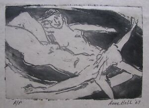 """ANNE HALL AUSTRALIAN AQUATINT PRINT """"TWO FEMALE NUDES LOUNGING ABOUT"""" 1967"""