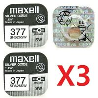 Pila MAXELL 377 - SR626SW - Made In Japan - Original - Pack De 3 Pilas