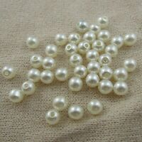 3/4/5/6/8/10mm Ivory White Round Acrylic Imitated Pearl Seed Beads Hole Jewelry