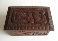 Mid Century Modern Hand Carved Abstract Witco Wood Box