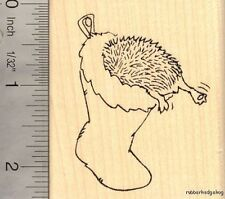 Hedgehog in Christmas Stocking Rubber Stamp J15005 WM