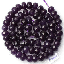 "New 5x8mm Faceted Purple Amethyst Gemstone Abacus Loose Beads 15"" AA"