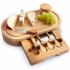 VonShef Oval Wooden Cheese Board & 4 Piece Knife Set with Slide Out Drawer