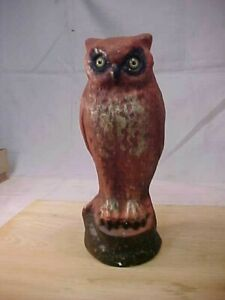 LARGE VINTAGE HALLOWEEN PAPER MACHE OWL CANDY CONTAINER WITH GLASS EYES
