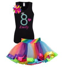 Bubblegum Divas Girls 8th Birthday Shirt Rainbow Party Outfit Custom 2PC Set