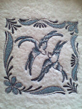 BLUE WILLOW DOVES  Unique EMBROIDERED SET OF 2 Bathroom HAND TOWELS By Laura