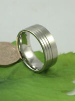 Gatik AR7605 Gents Satin 316L Stainless Steel 3 Groove Design 9mm Band Ring