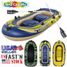 Inflatable Fishing Boat Raft Canoe Sport Dinghy 3-4Person Kayak W/Oars Foot Pump
