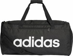 adidas Linear Core Duffel Training Bag Black/White Gym Football Travel XS S M