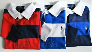 Boys Ralph Lauren Soft Cotton Striped Rugby Shirt - 3 yrs to 14-16yrs CLEARANCE