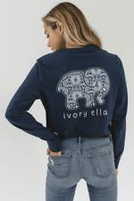 New Discontinued Ivory Ella Long Sleeve T-Shirt - Navy Blue Mandala Print Size M